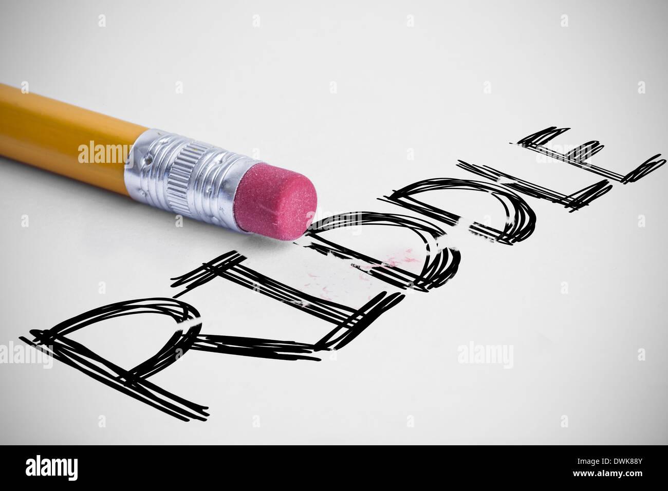 Riddle contra con un borrador de lápiz Foto de stock