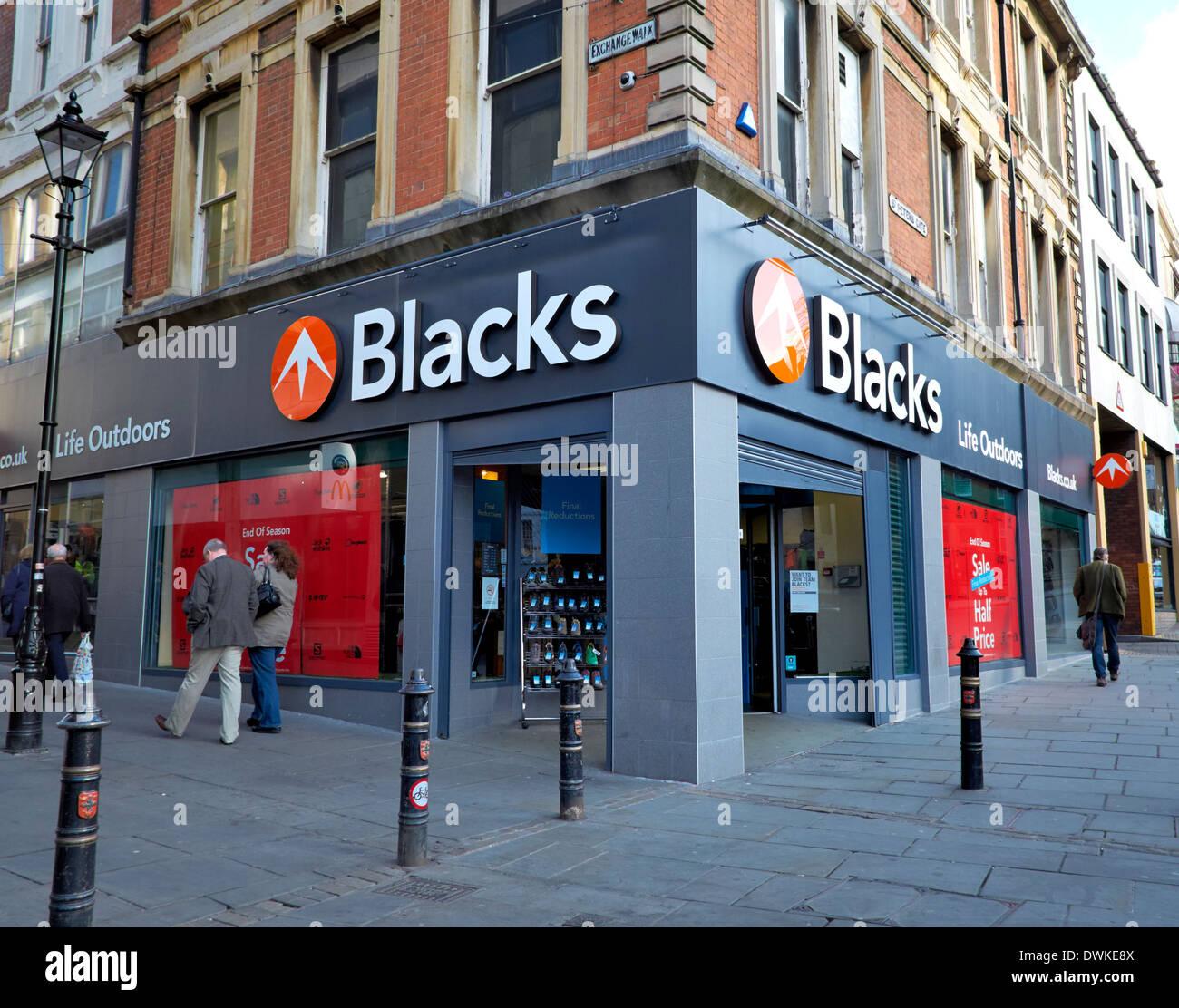 Los negros outdoor retailer Nottingham Inglaterra Imagen De Stock