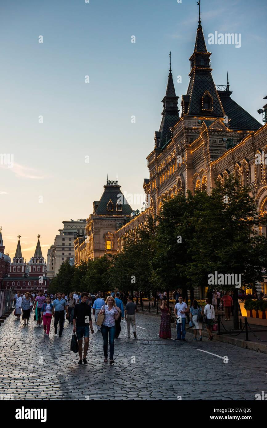 La encía al atardecer en la Plaza Roja, Moscú, Rusia, Europa Foto de stock