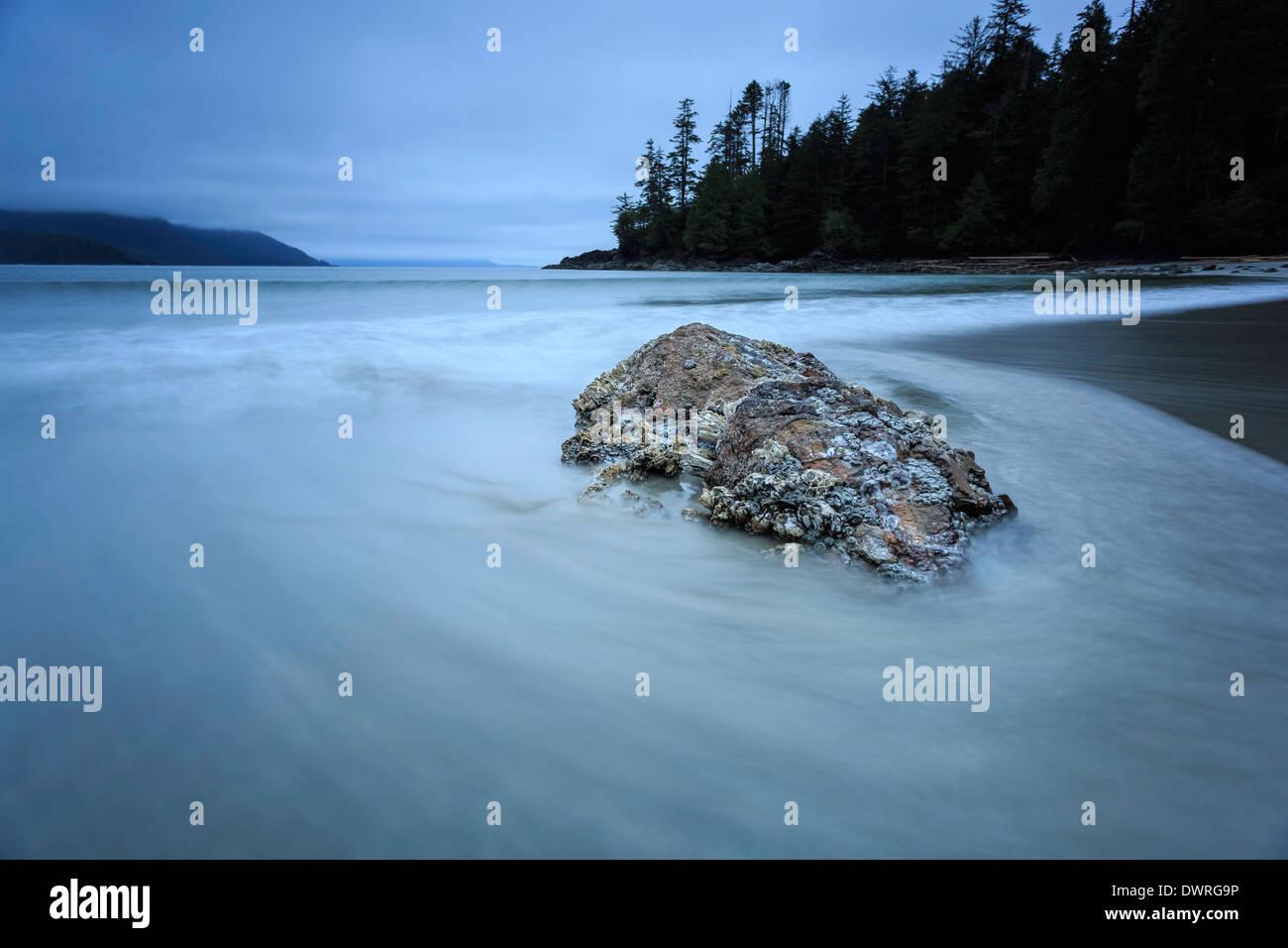 Un barnacle cubiertos rock es capturado en las olas a lo largo de una playa con una velocidad de obturación lenta. Foto de stock