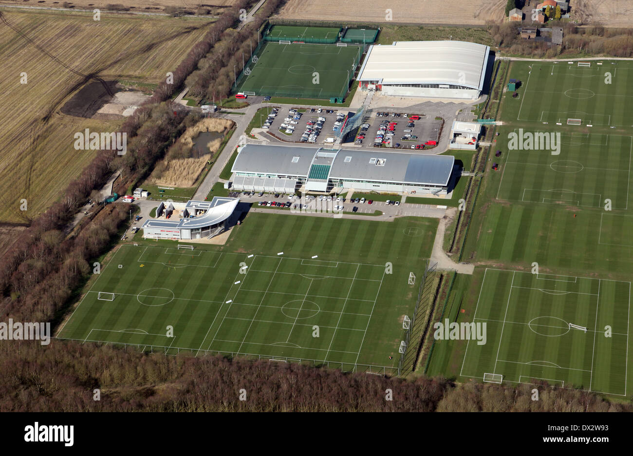 Vista aérea del campo de entrenamiento de fútbol Manchester United en Carrington, Manchester Imagen De Stock