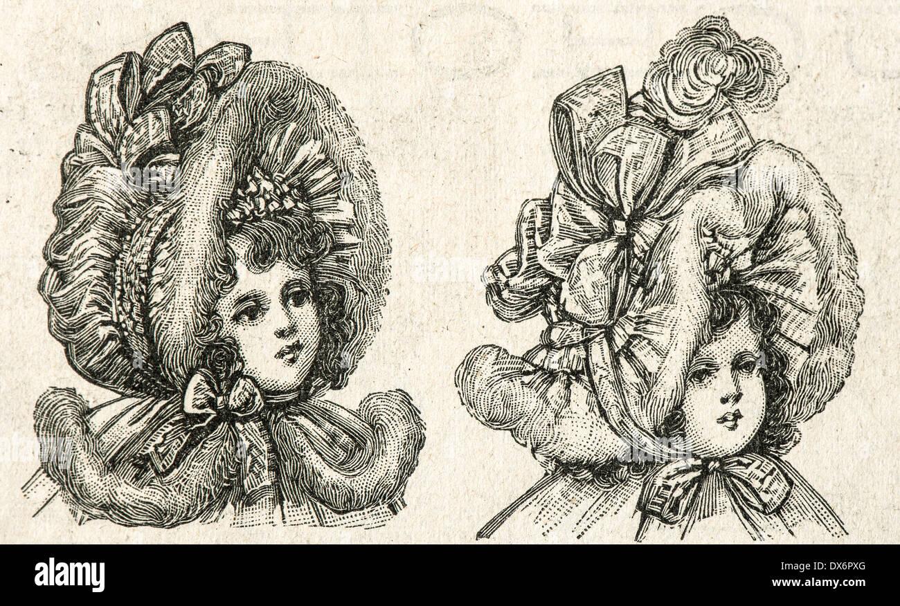 b08e635a3c0e8 Retrato de la pequeña niña victoriana en vintage sombrero. antique  ilustración grabada. La Mode