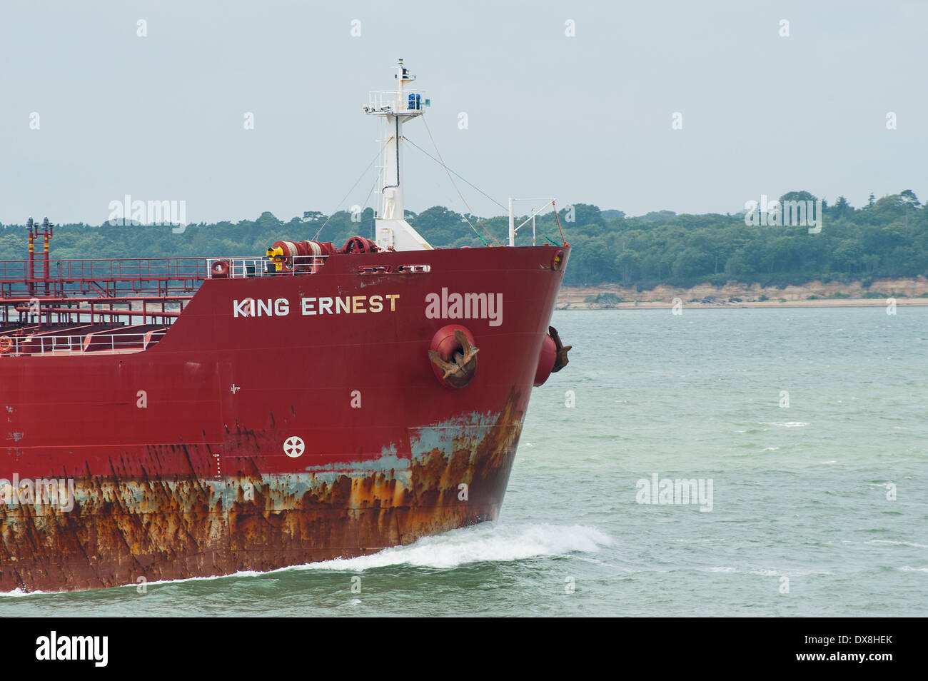 Sección de proa del Rey Ernest, petróleo/cisterna para productos químicos. Foto de stock
