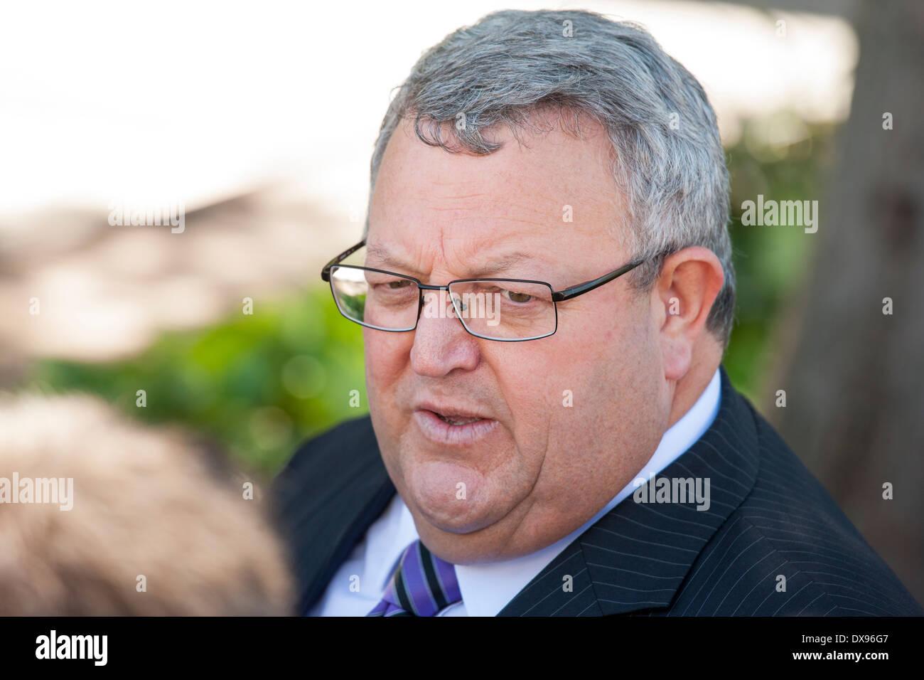 Gerry Brownlee. Nueva Zelandia político líder de la cámara, Ministro de Transportes, Ministro de Canterbury la recuperación del terremoto Imagen De Stock