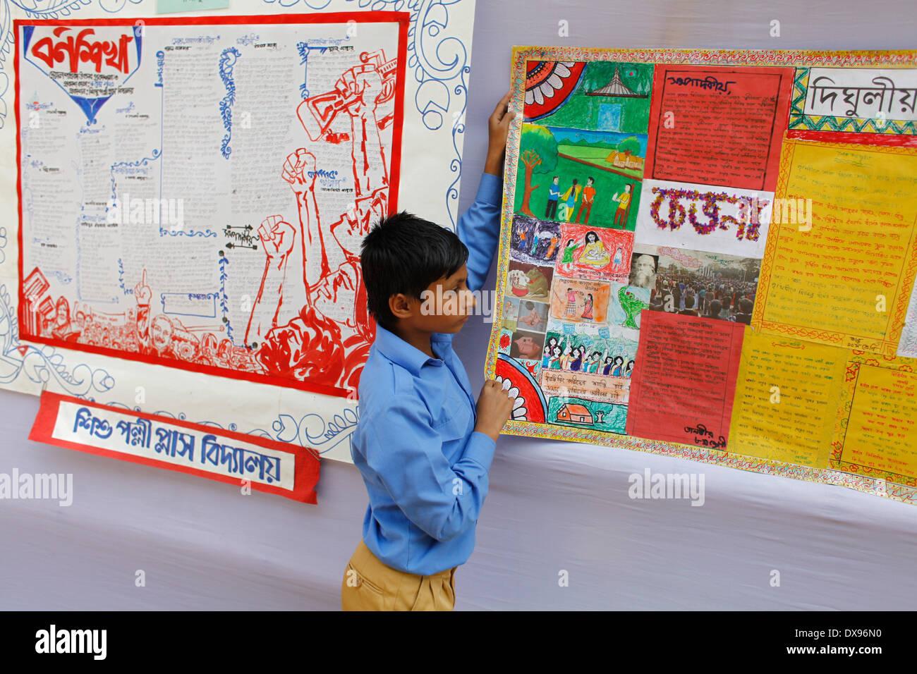 Dhaka Bangladesh 20 Mar 2014 Estudiante De 7º Festival Celebra