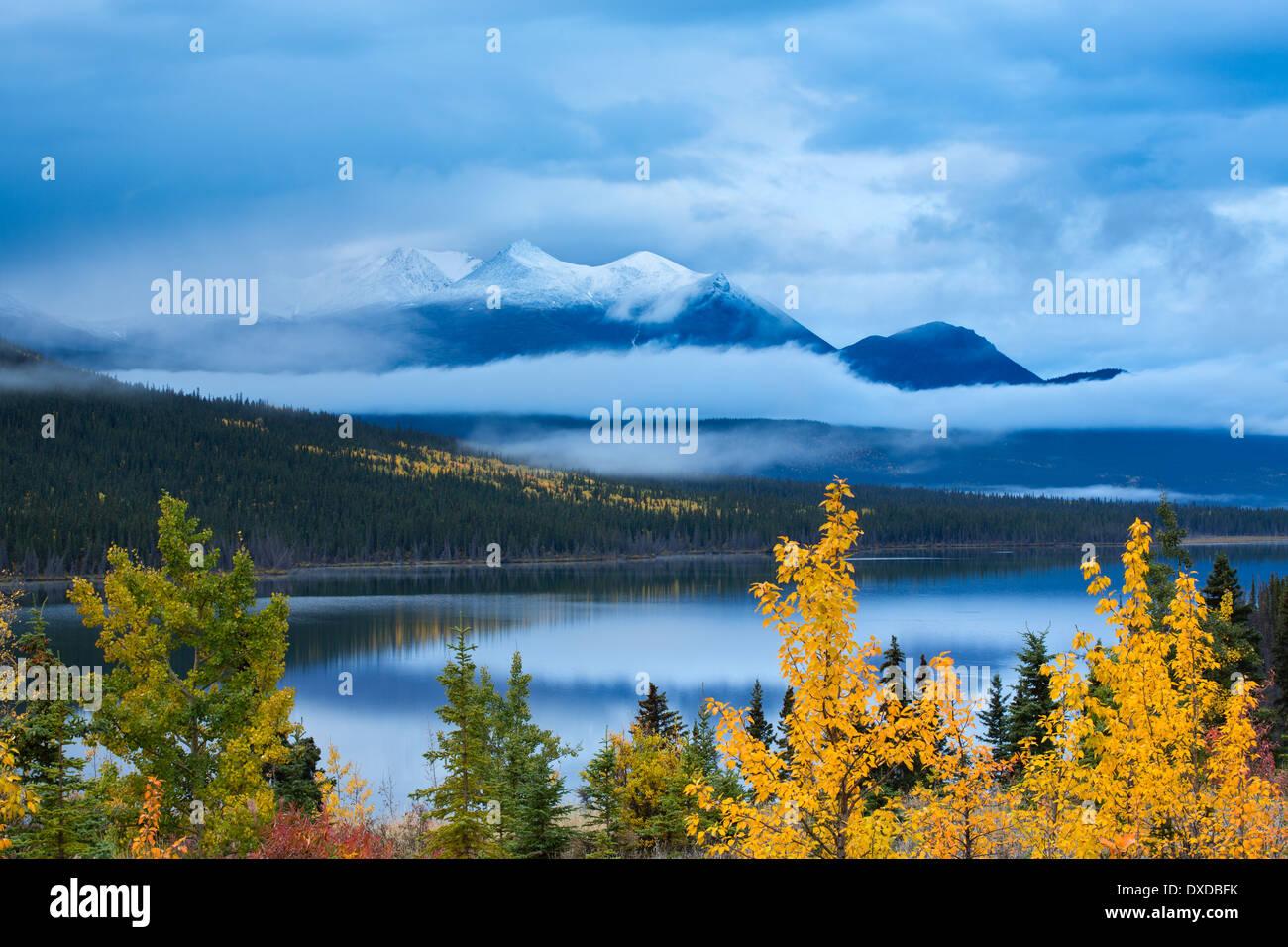 Colores de otoño en el lago, con narinas Montana más allá de la montaña, cerca de Carcross, Yukon territorios, Canadá Imagen De Stock