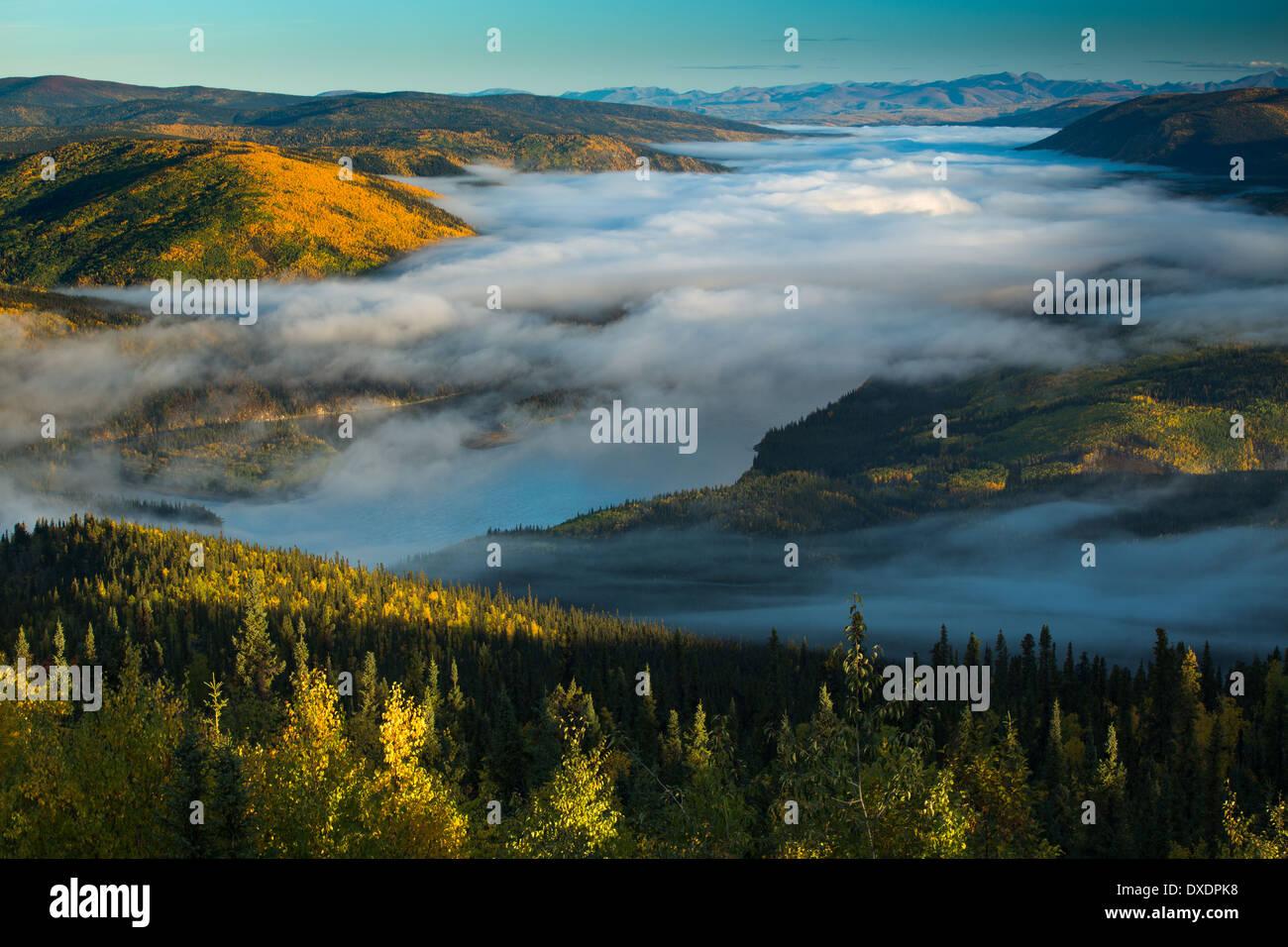 Niebla en el valle del río Yukón al amanecer, aguas abajo de la ciudad de Dawson de Dome Hill, los Territorios del Yukón, Canadá Imagen De Stock