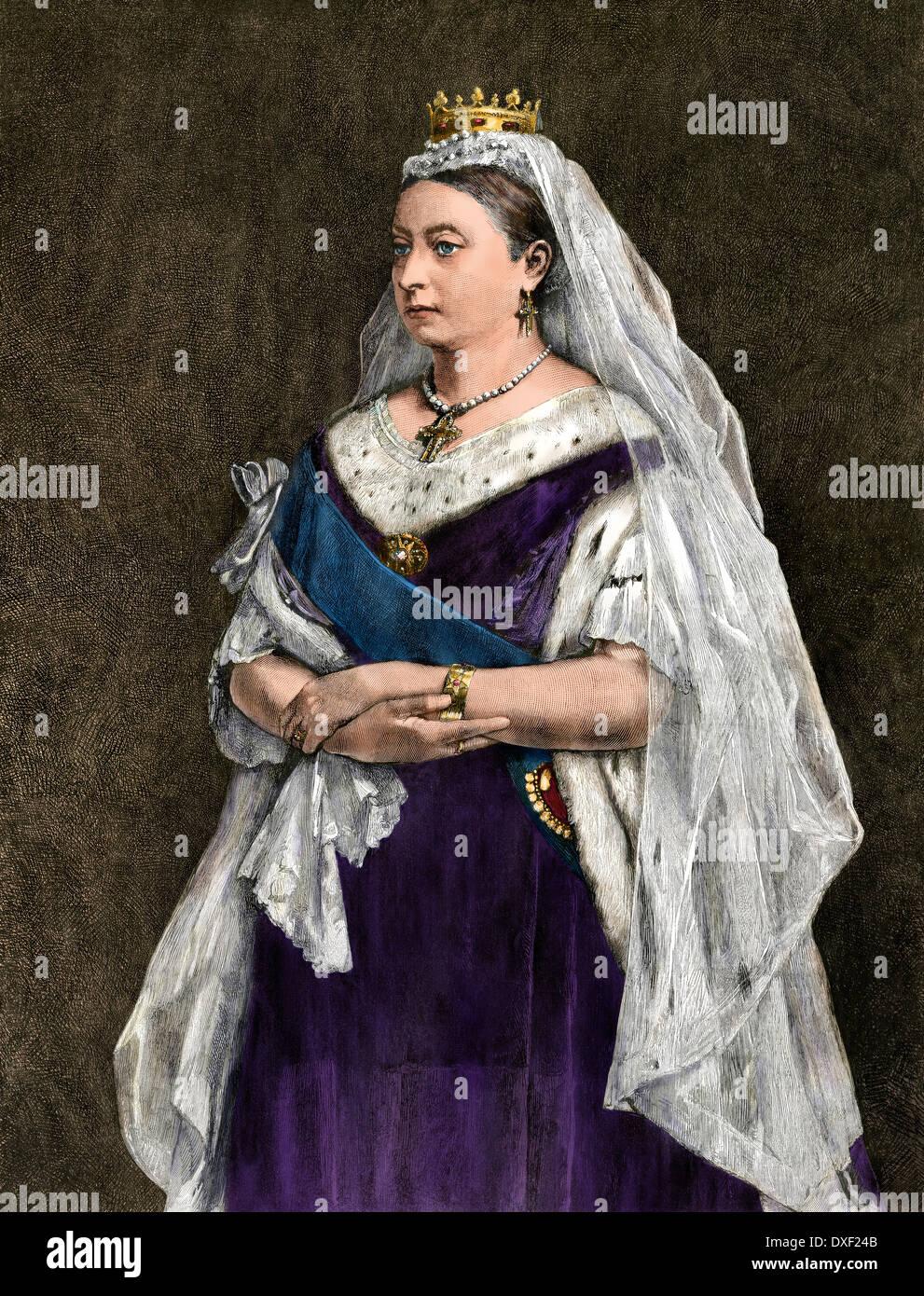 La reina Victoria de Inglaterra, 1872. Xilografía coloreada digitalmente Imagen De Stock