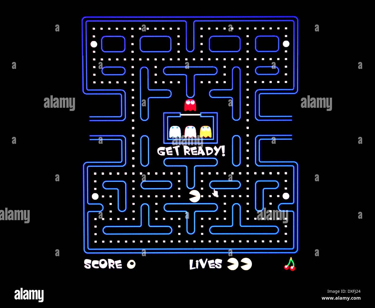Pacman, el clásico juego de arcade de los 80's Imagen De Stock