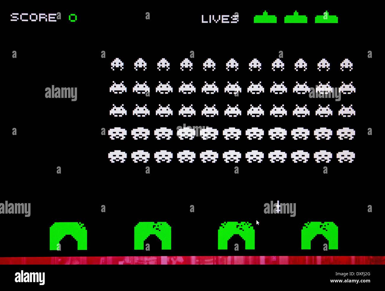 Space Invaders, el clásico juego de arcade de los 80's Imagen De Stock