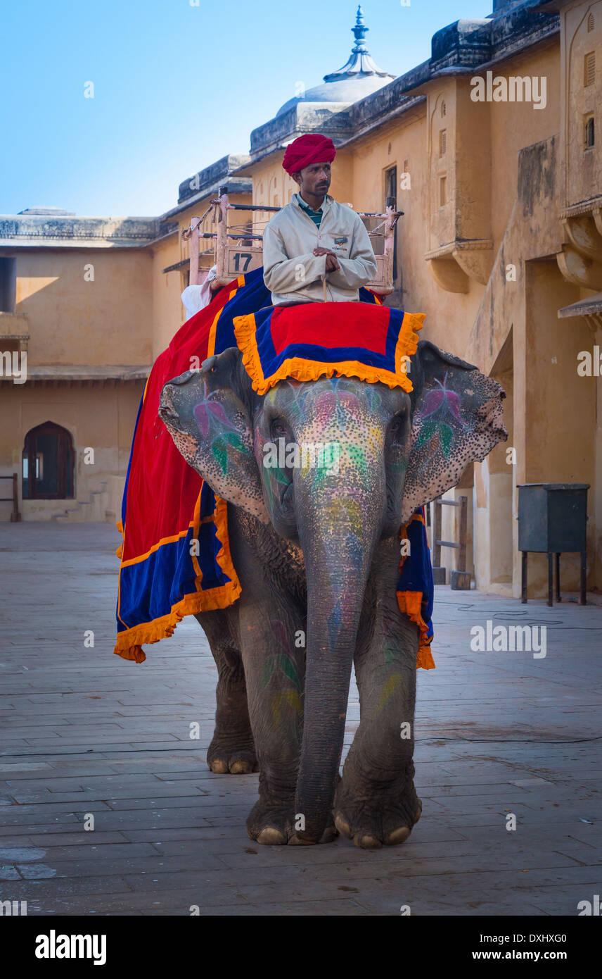 Amer Fort está situado en Amer 6.8 mi de Jaipur, en el estado de Rajasthan, India Imagen De Stock