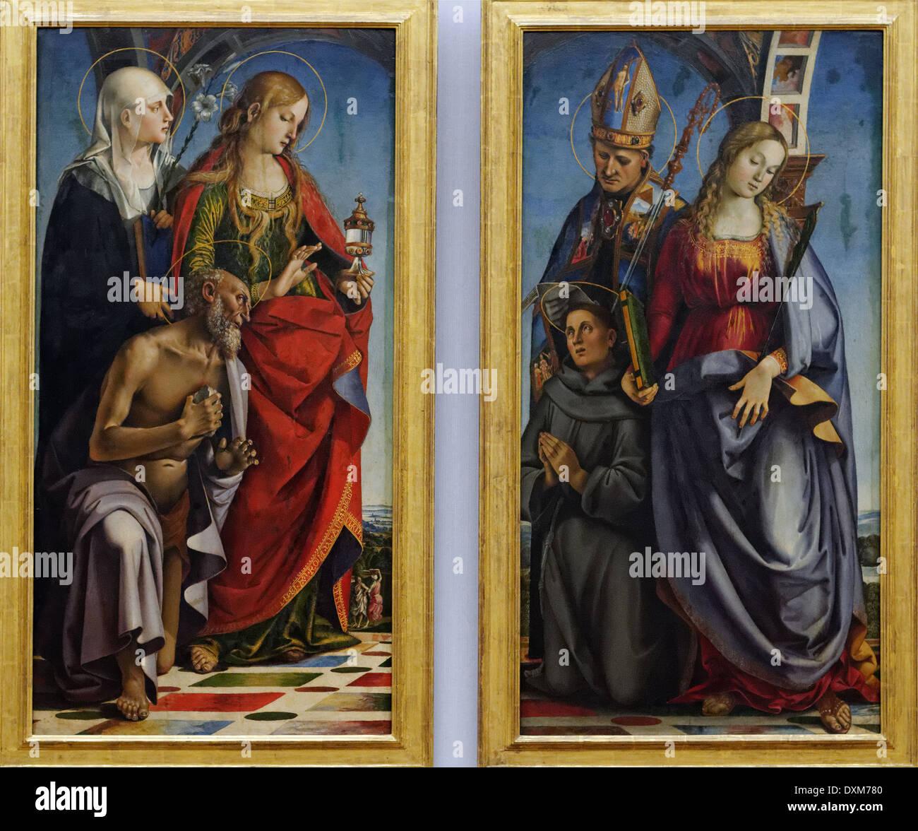 Luca Signorelli - Dos paneles laterales del altar de planta de la capilla de S. Agastino Bichi en Sienna - 1491 - Siglo XV - Italiano Imagen De Stock