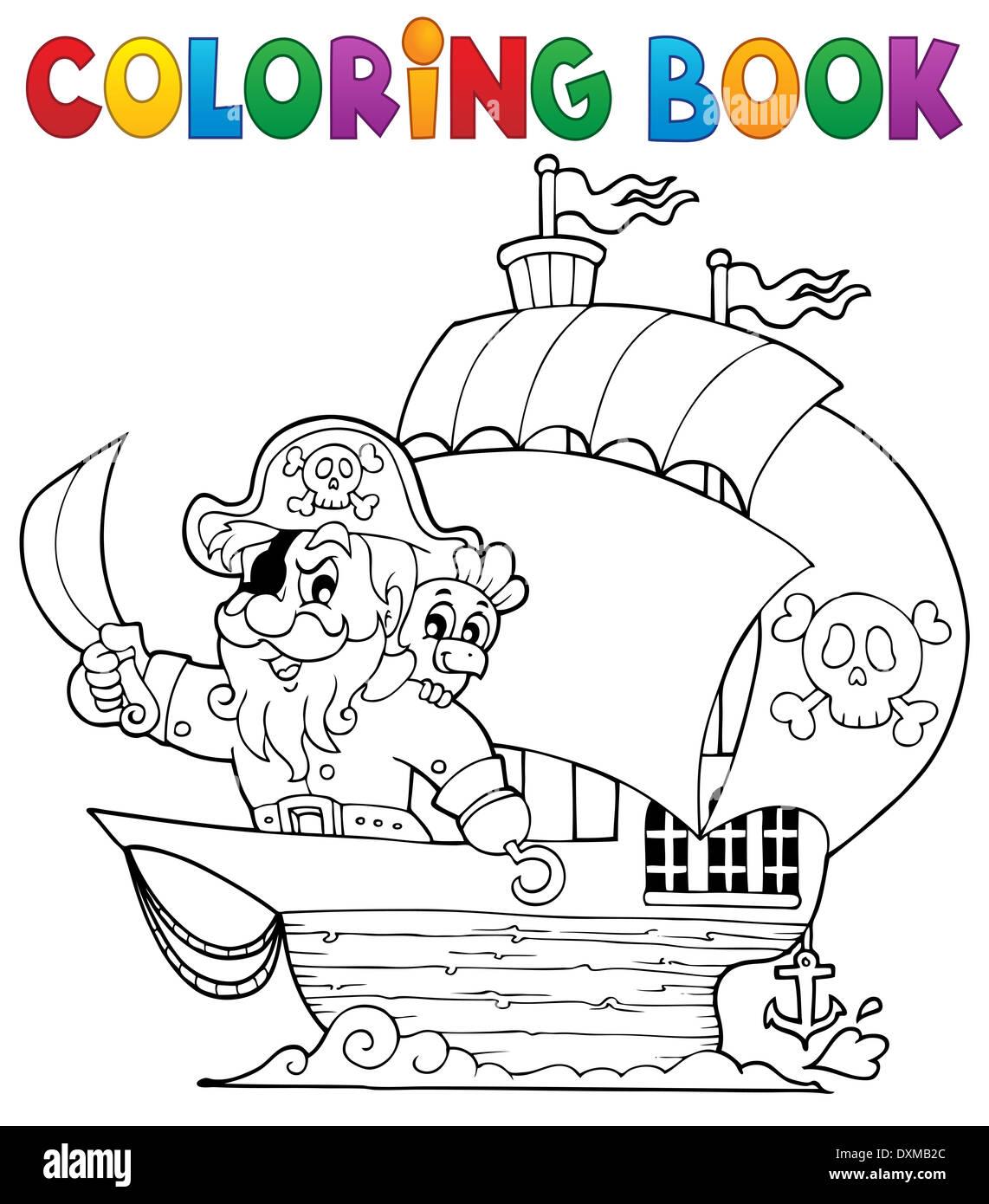 Libro Para Colorear Con Barco Pirata Imagen 1 Ilustración