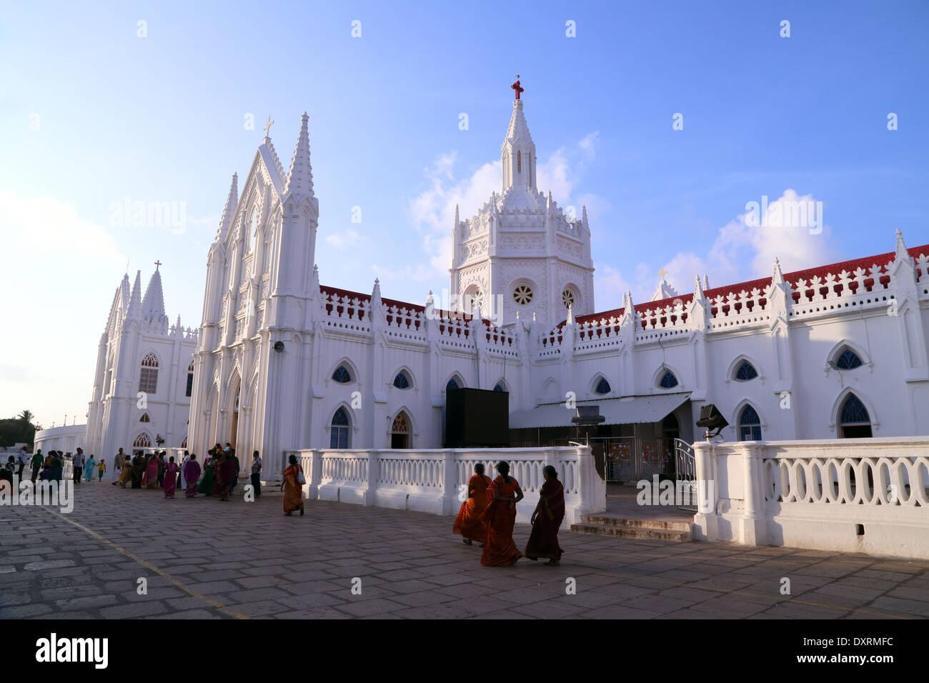 Santuario Basílica de Nuestra Señora de la salud de Vailankanni, distrito de Nagapattinam, Tamil Nadu, India Foto de stock