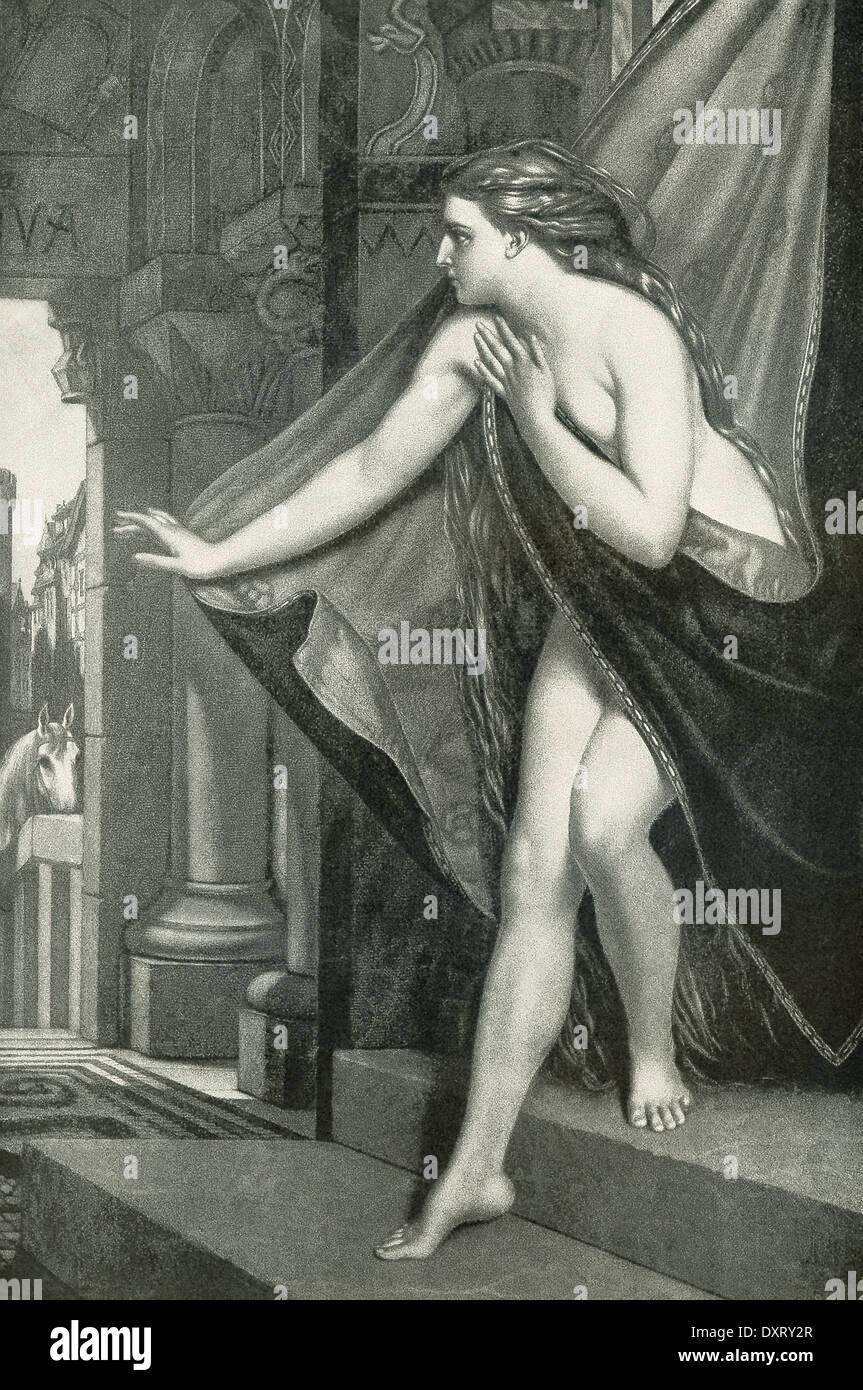 Esta ilustración muestra 1892 Lady Godiva sobre pasar el jinete y su caballo - a la izquierda en la distancia. Imagen De Stock