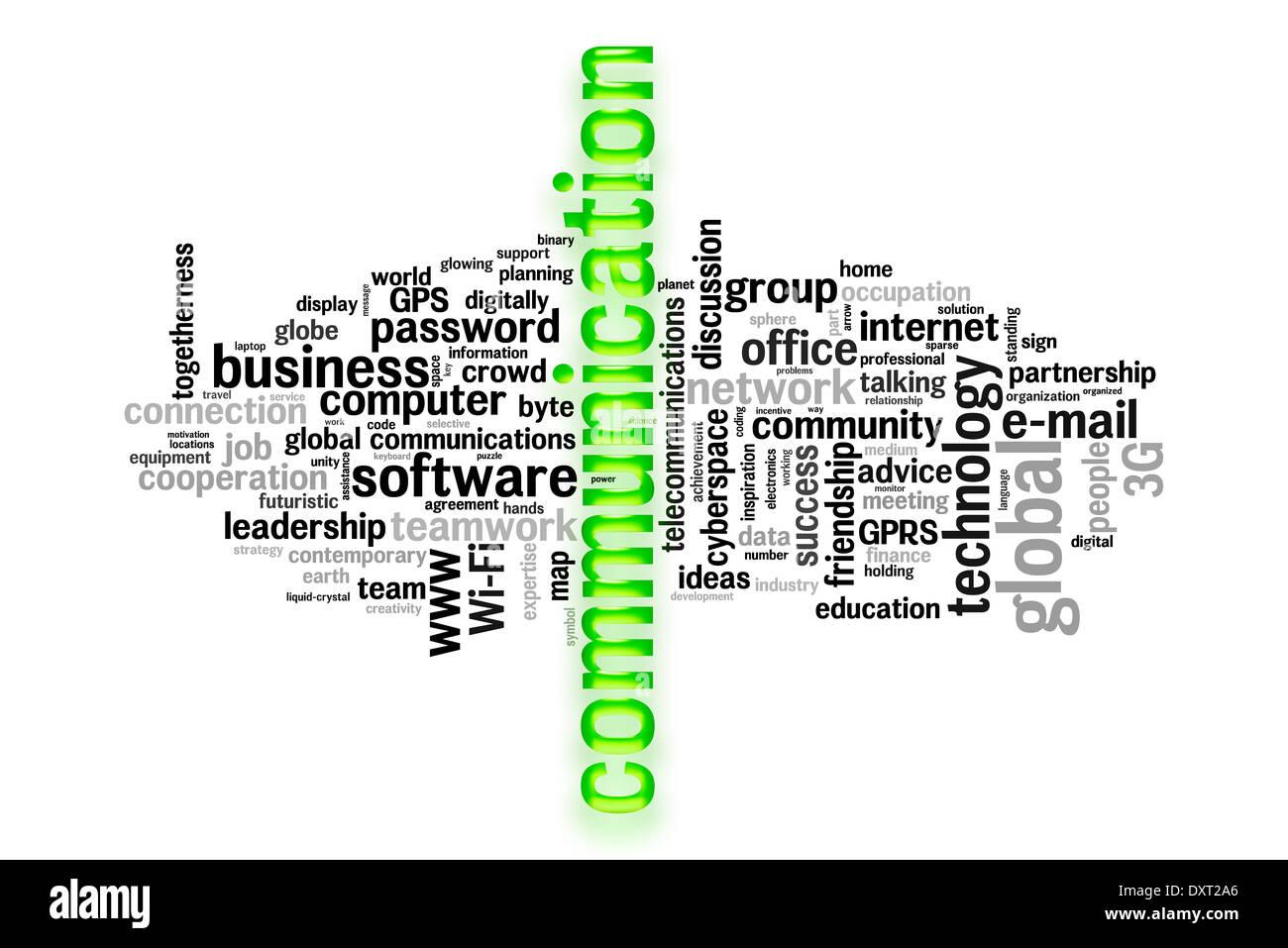 El concepto de comunicación imagen palabra cloud Imagen De Stock