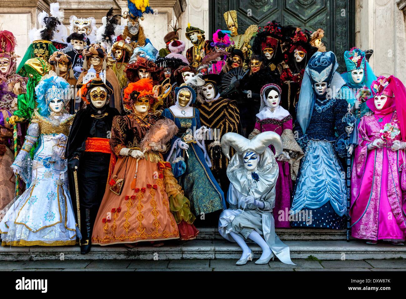 Las personas en traje, Carnaval de Venecia, Venecia, Italia Imagen De Stock