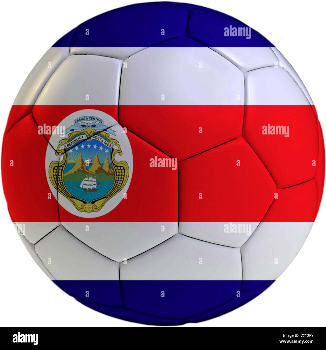 Copie el espacio en el lado derecho - 3D Rend. R1B99Y (RF). Pelota de fútbol  con Costa Rica bandera aislado sobre fondo blanco. Imagen De Stock 1b6c8b7386b5e