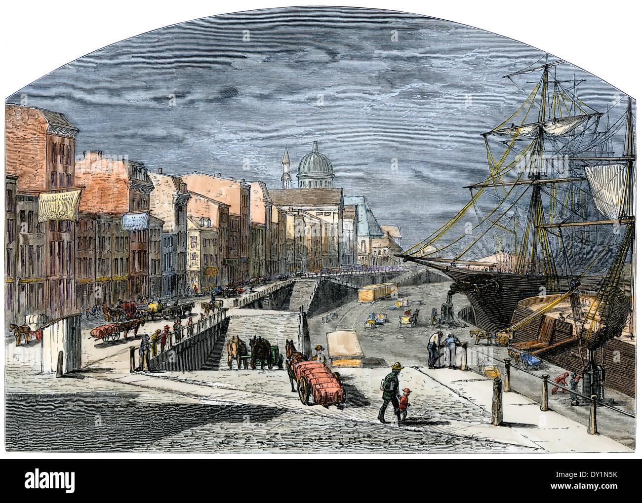 La carga de los buques río San Lorenzo en el Montreal Waterfront, 1870. Xilografía coloreada a mano Imagen De Stock