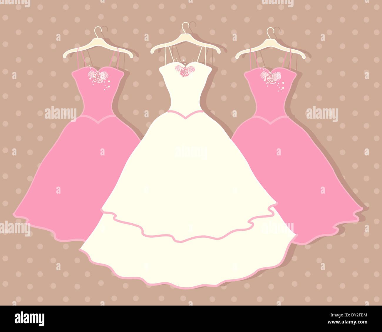 Una ilustración de un vestido de novia en una percha con dos ...