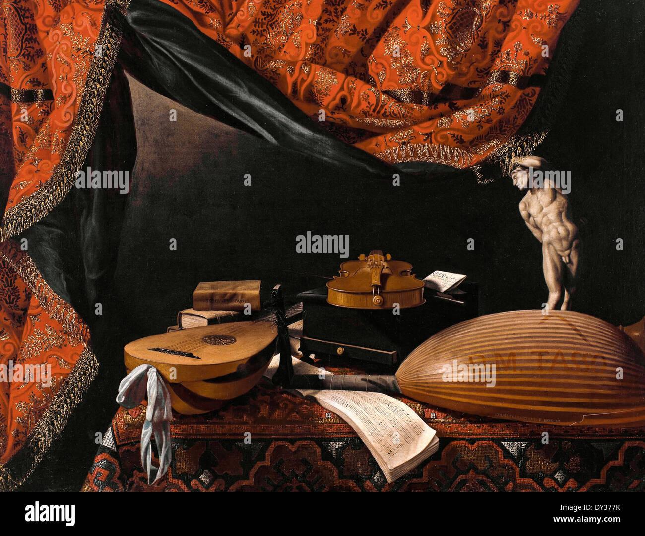 Evaristo Baschenis, bodegón con instrumentos musicales, libros y esculturas. Circa 1650. Óleo sobre lienzo. Imagen De Stock