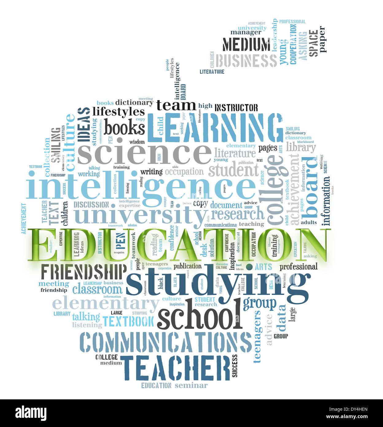 La educación palabra nube apple imagen concepto forma Imagen De Stock