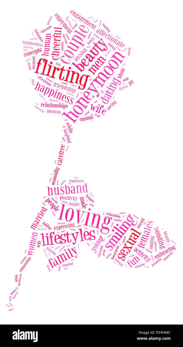 Día de San Valentín y el amor concepto en word nube de etiquetas Imagen De Stock