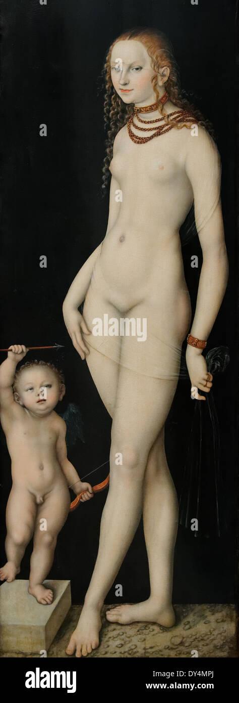 Lucas Cranach - Venus y Amor - 1530 - Siglo XVI - Colegio Alemán - Gemäldegalerie - Berlín Imagen De Stock