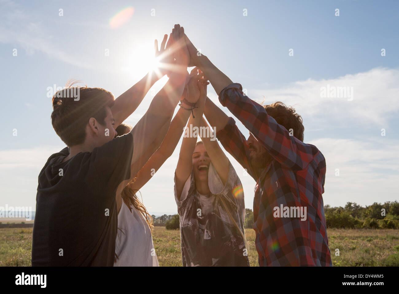 Cuatro amigos cogidos de la mano con los brazos levantados Imagen De Stock