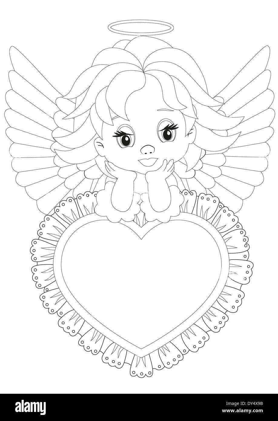 Página para colorear Ángel sentado sobre un corazón Foto & Imagen De ...