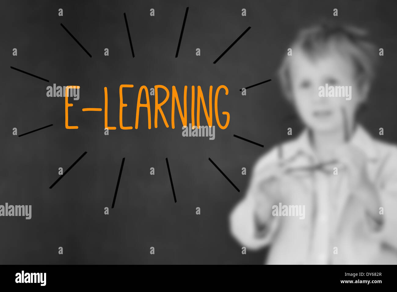 E-learning contra el colegial y blackboard Foto de stock