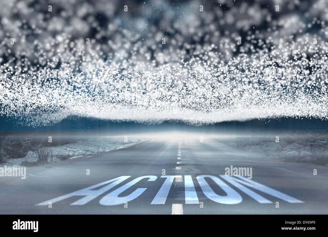 Acción contra las estrellas brillantes de energía a lo largo de paisaje Imagen De Stock