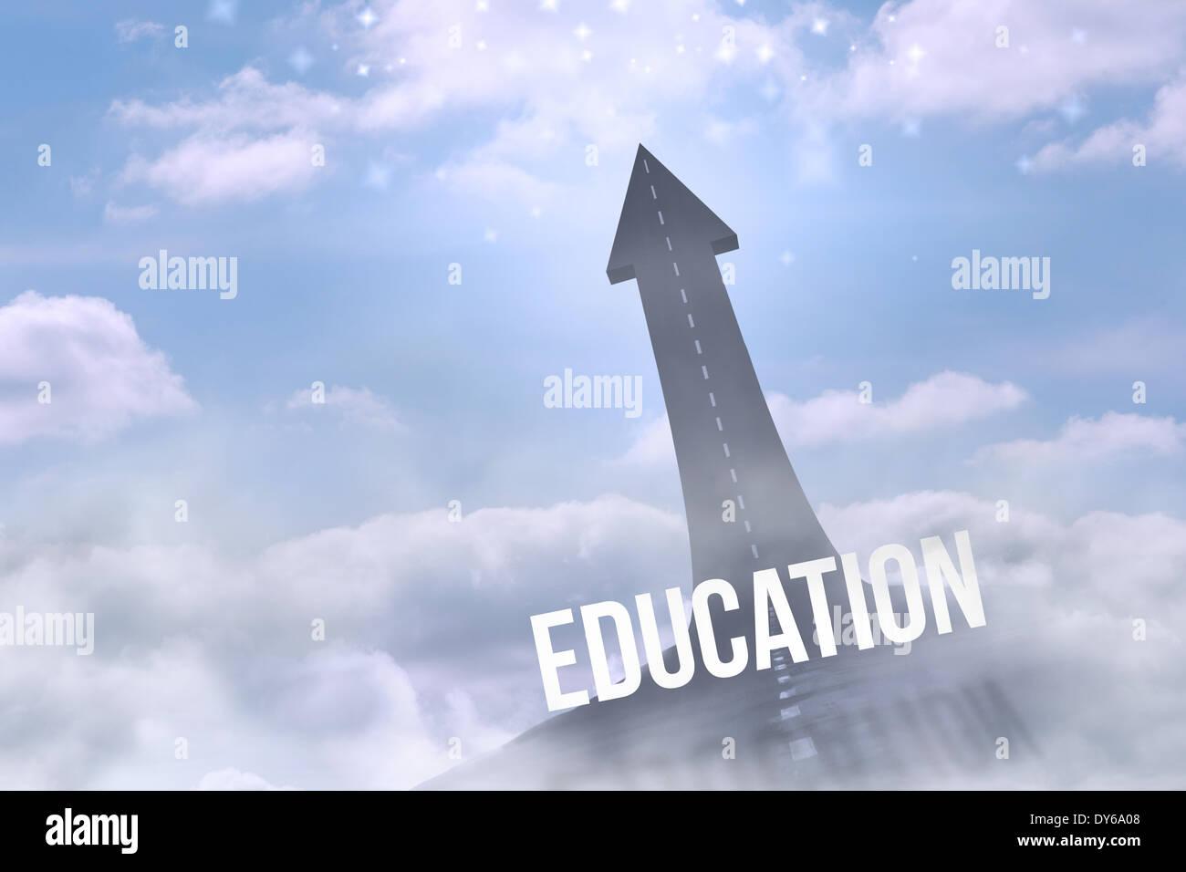 La educación contra la carretera girando en la flecha Imagen De Stock