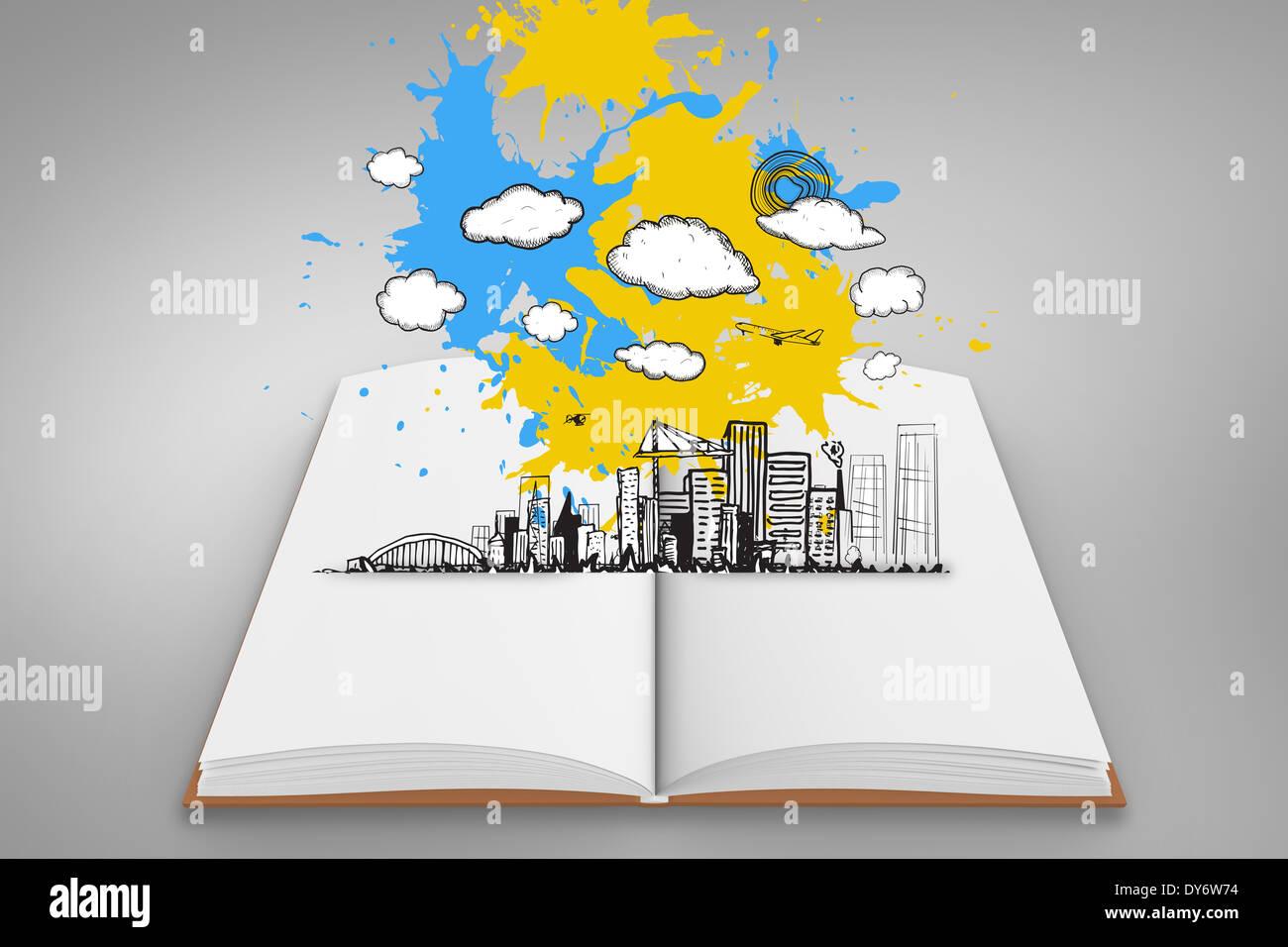 Imagen compuesta de paisaje urbano gráfico de pintar las salpicaduras sobre libro abierto Imagen De Stock