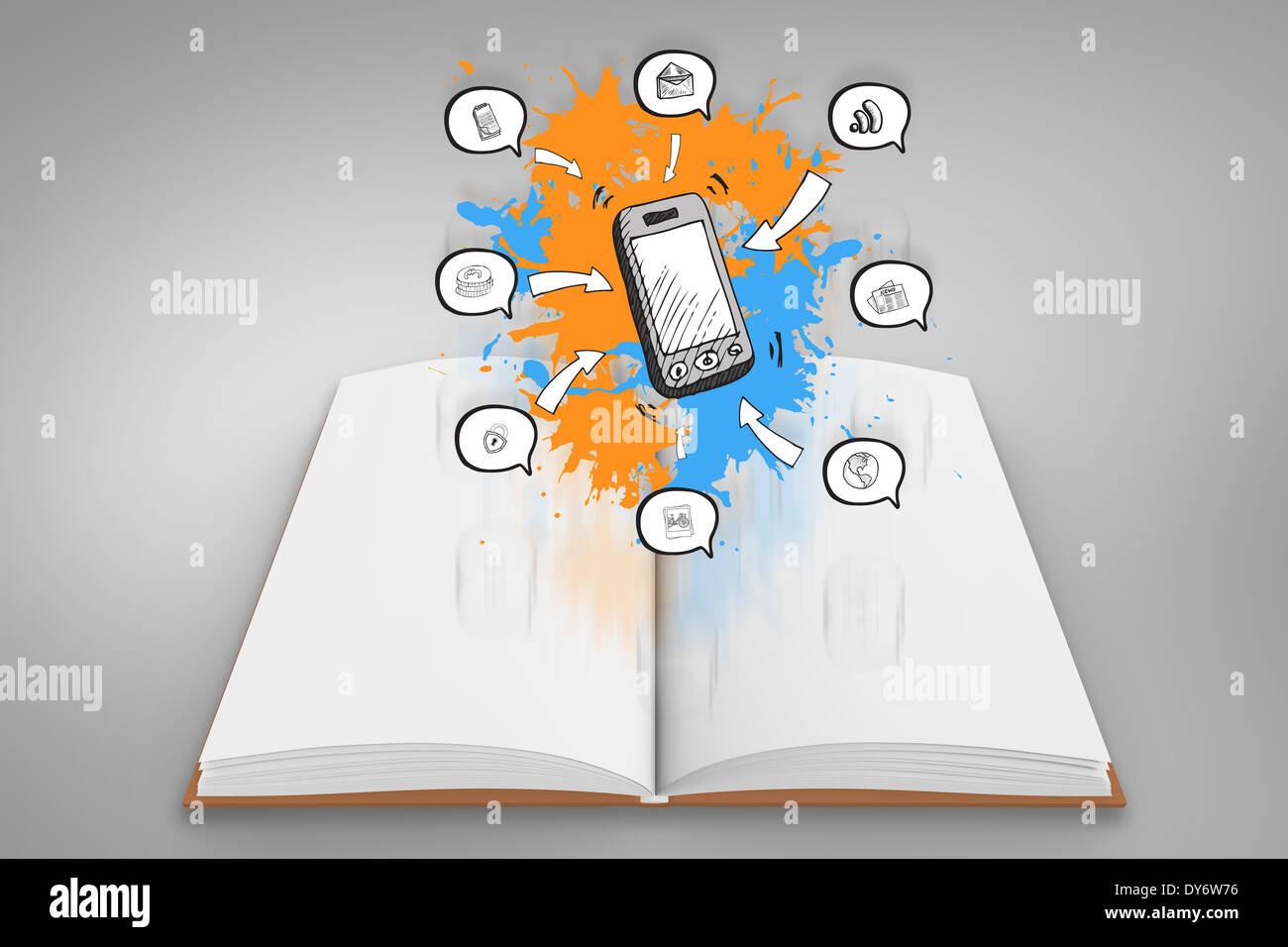 Imagen compuesta de aplicaciones en smartphones de salpicaduras de pintura sobre libro abierto Imagen De Stock