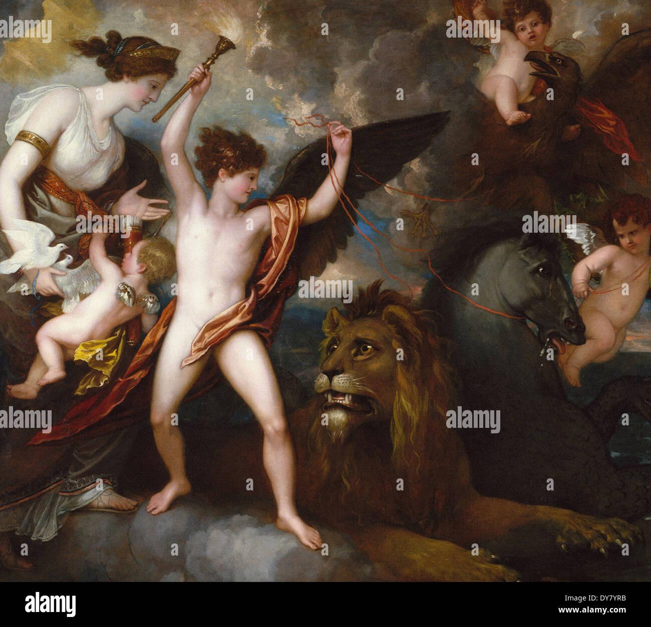 Benjamin West Omnia vincit amor (el poder del amor en los tres elementos) Imagen De Stock