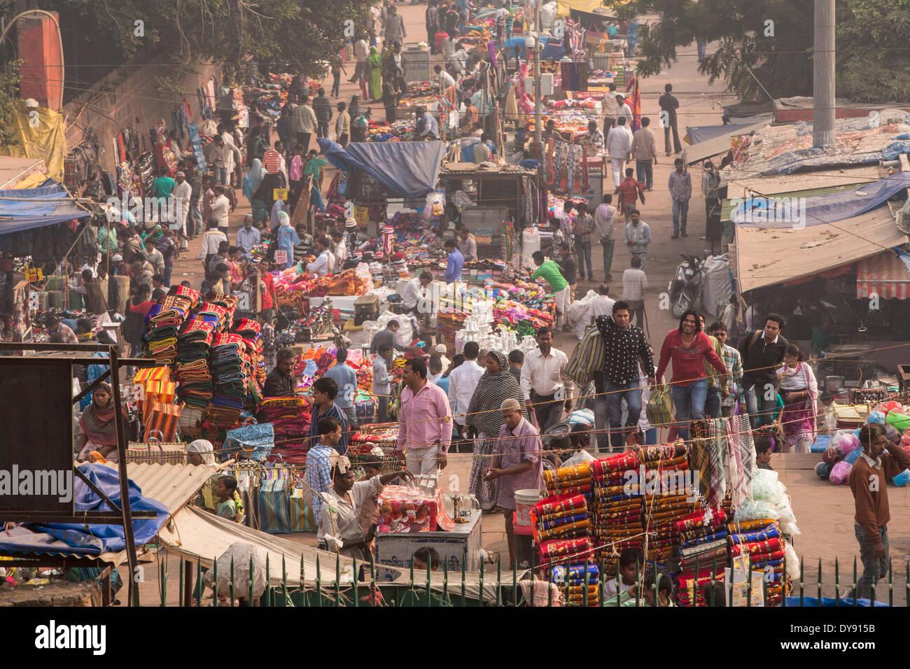 Calle, Delhi, Asia, pueblo, ciudad, mercado, persona, muchos, Imagen De Stock