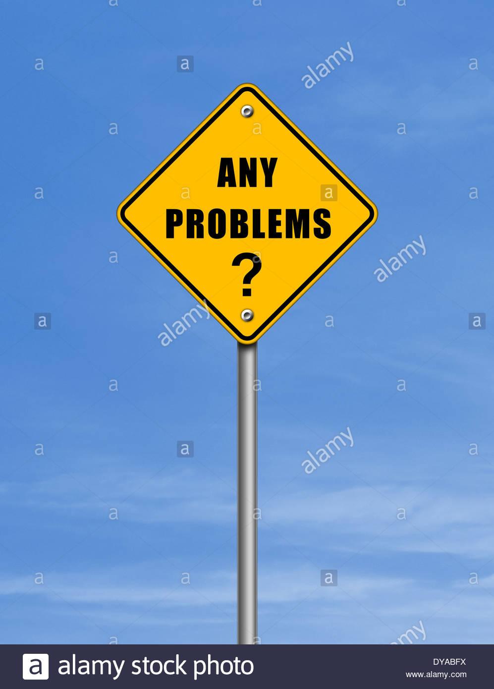 Cualquier tipo de problemas - señal de carretera concepto Imagen De Stock