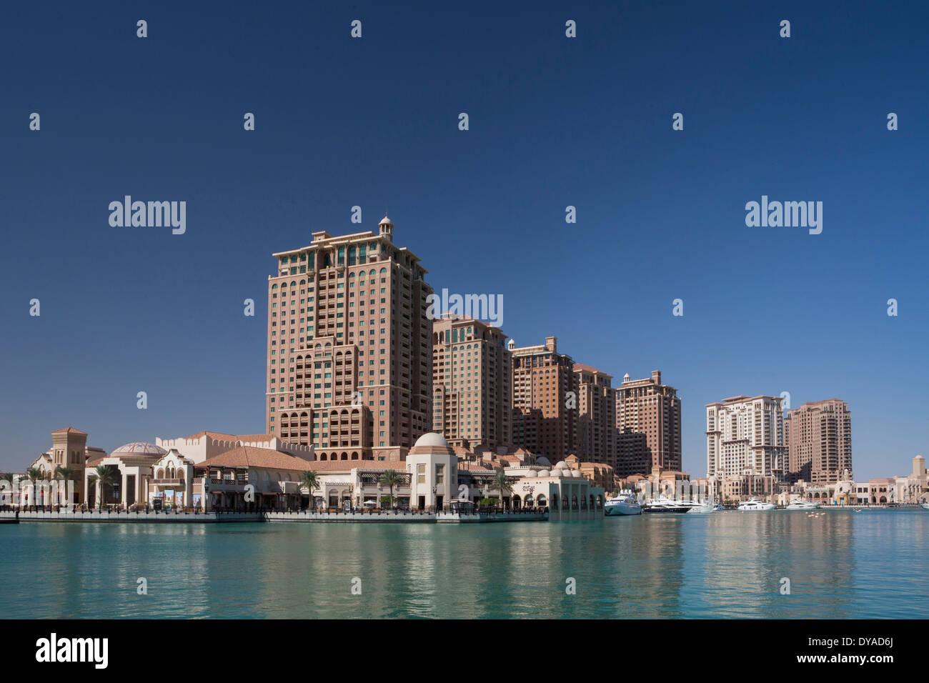 Doha, Qatar, en Oriente Medio, la perla, la arquitectura, la bahía, la ciudad, la construcción nueva, Imagen De Stock