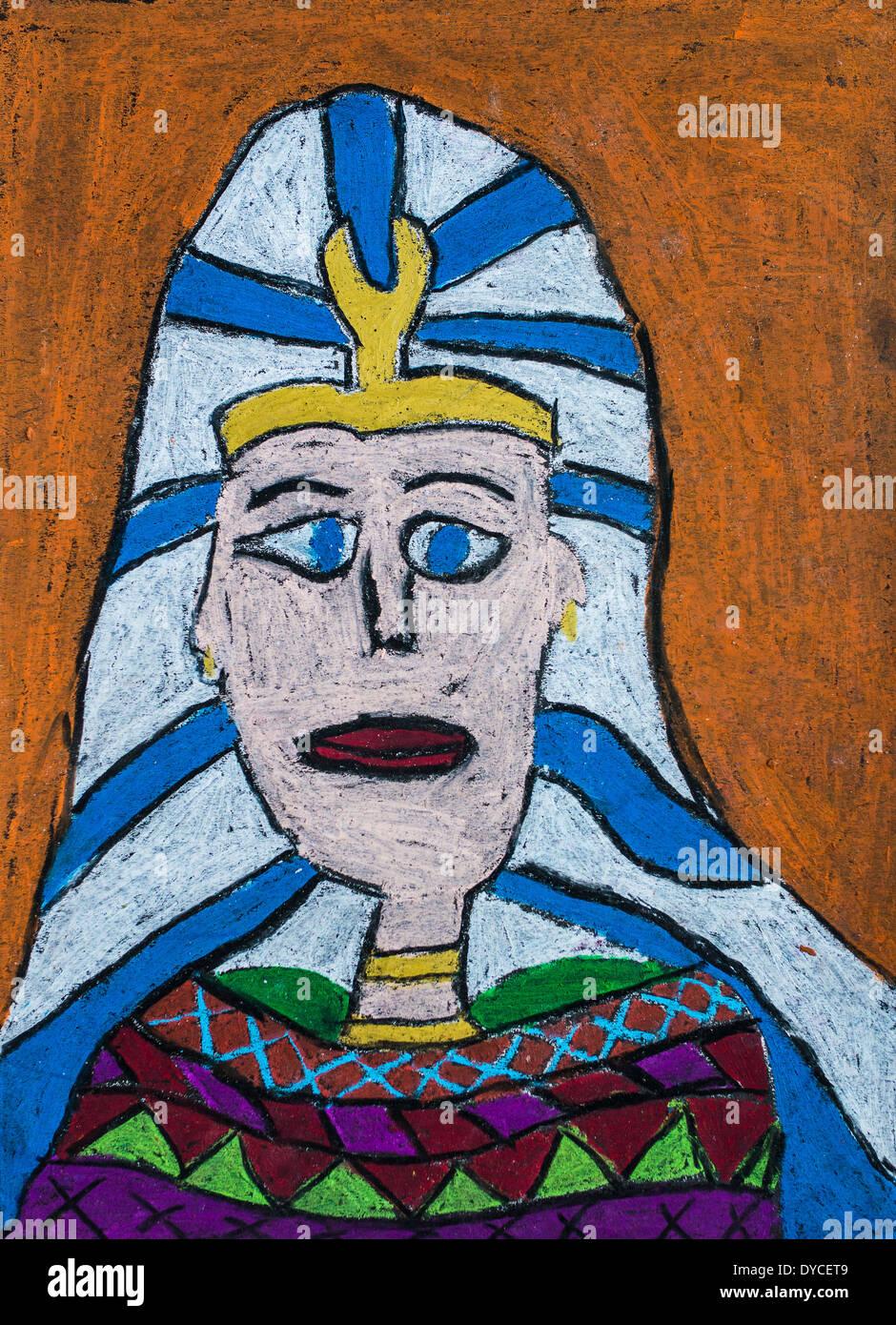 Proyecto de arte infantil: Faraones. Foto de stock