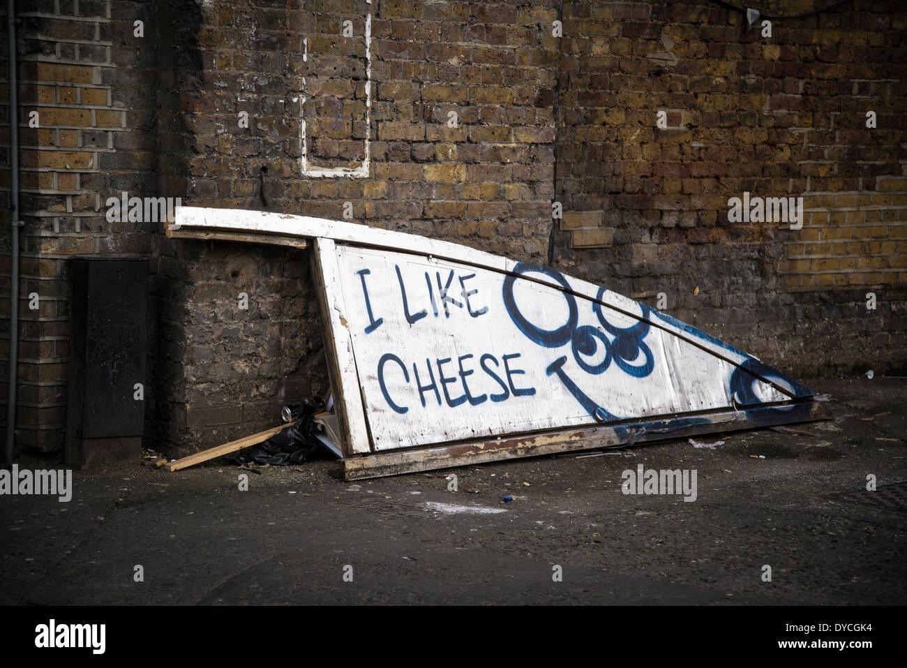 Me gusta el queso, Shoreditch, Londres, Reino Unido. Foto de stock