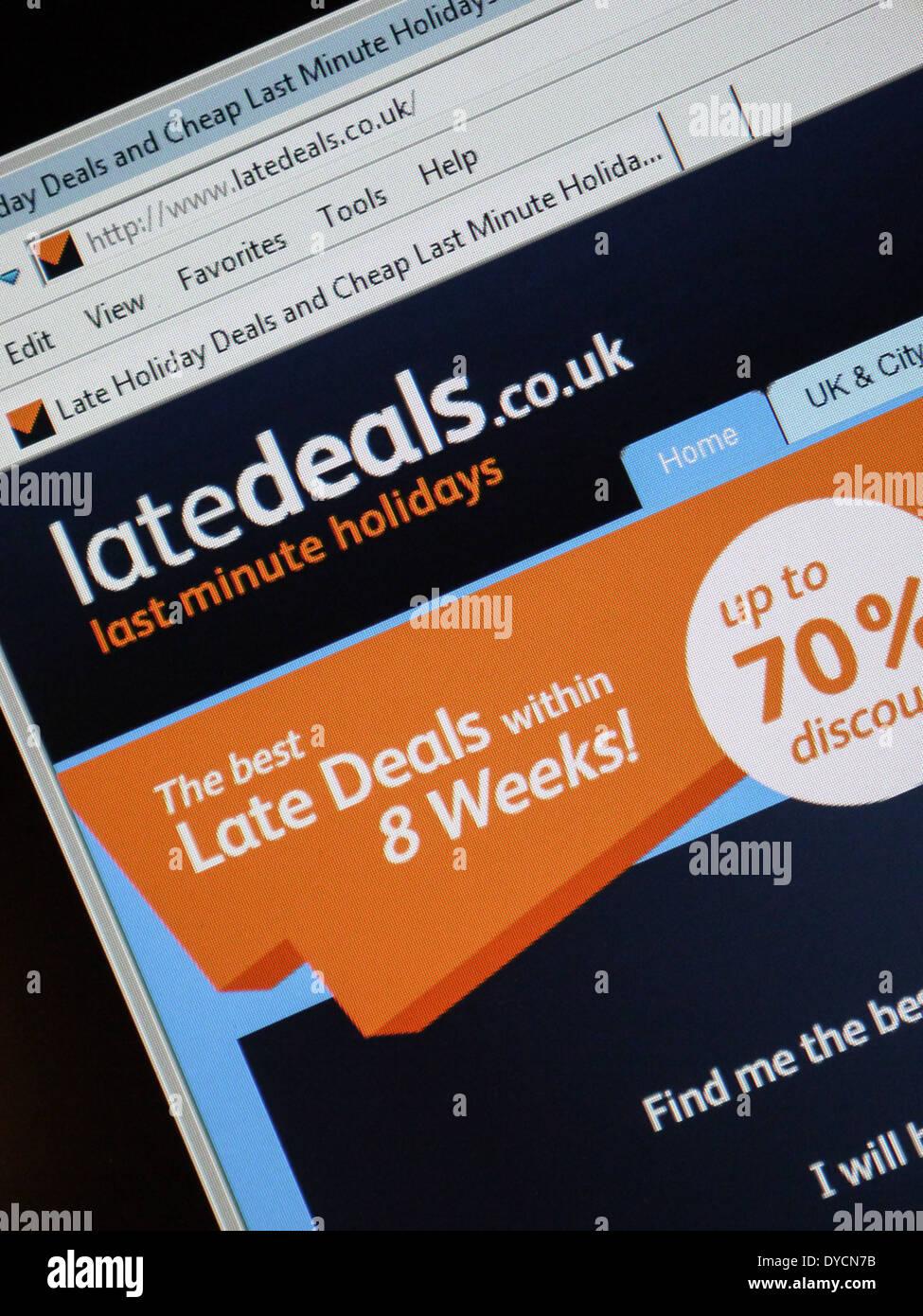 Vacaciones de última hora de tratar website latedeals Imagen De Stock