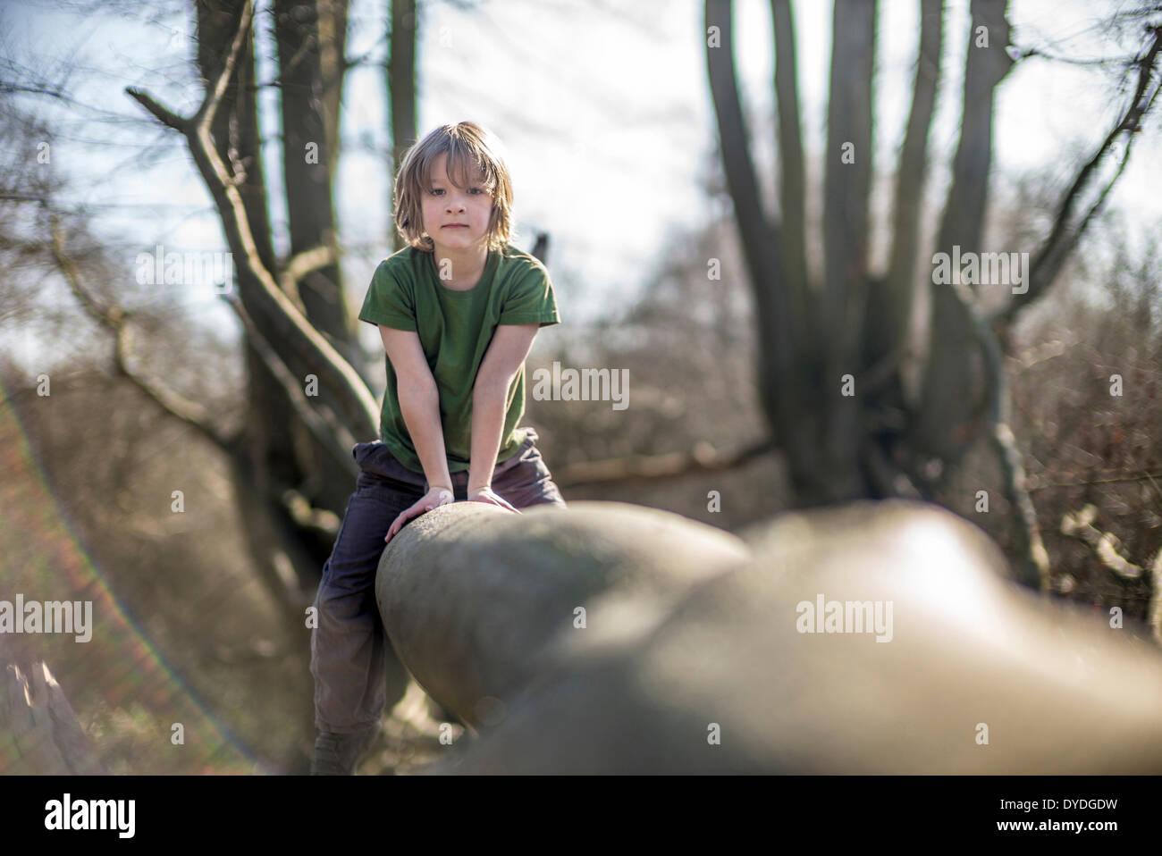 Los siete años de edad subir a un árbol. Imagen De Stock