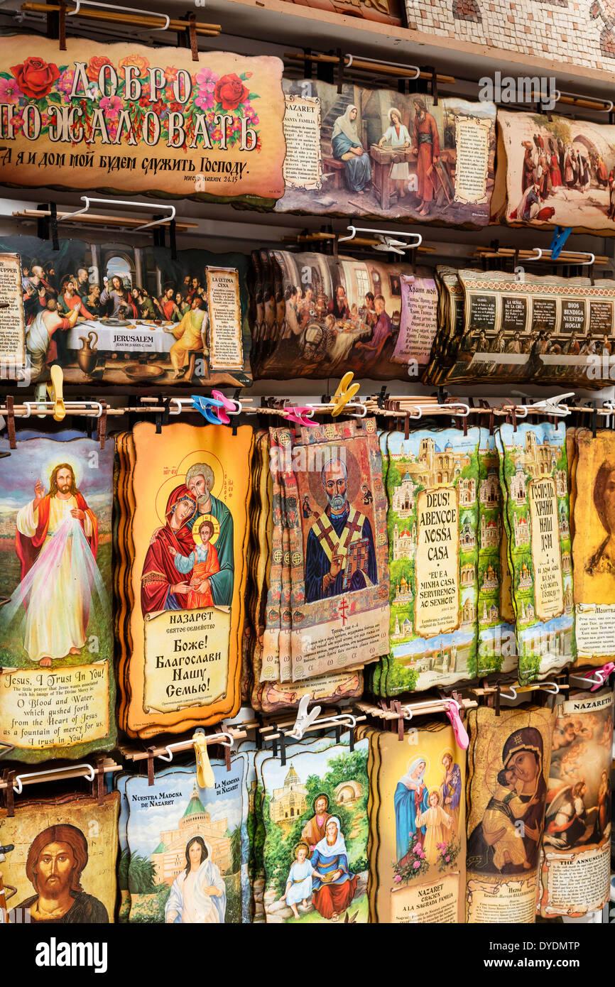 Recuerdos Religiosos, Nazaret, descenso de Galilea, Israel. Imagen De Stock