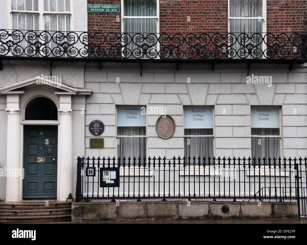 Número 1, Merrion Square, en Dublín, que fue una vez el hogar de Oscar Wilde Imagen De Stock