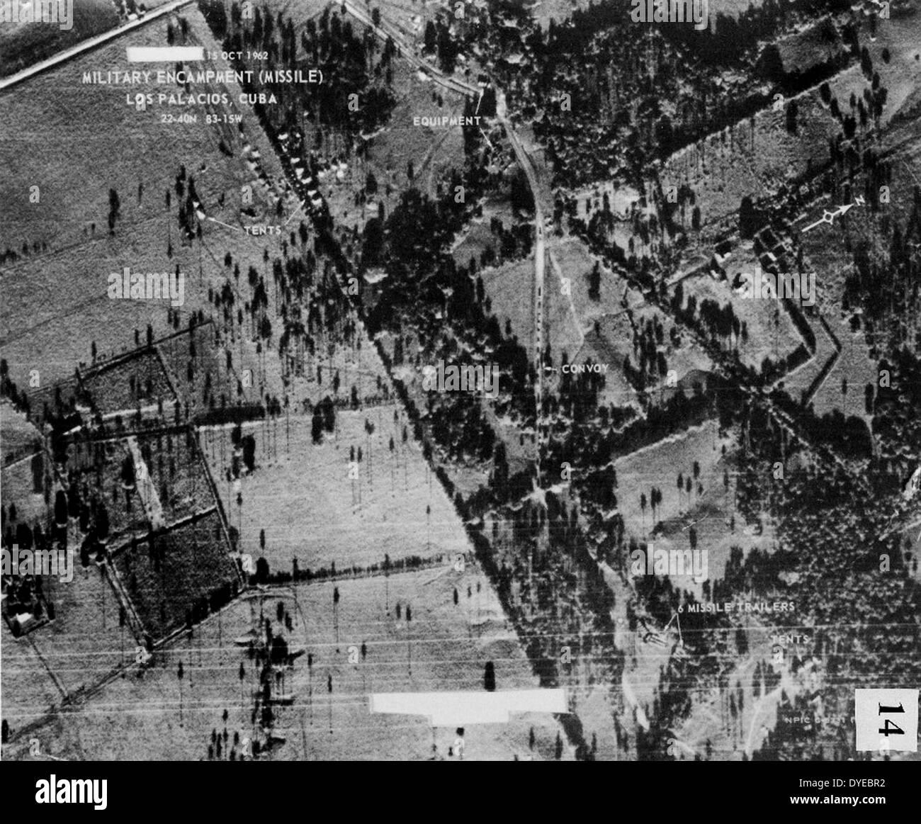 Foto tomada por la Agencia Central de Inteligencia estadounidense en 1962 que muestra las posiciones de los misiles Foto de stock