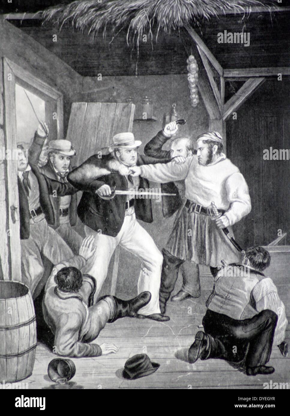 Los contrabandistas sorprendidos por los ingresos de los hombres. Desde el final de las guerras napoleónicas hasta finales de los años 30, las autoridades han tenido que tomar medidas enérgicas contra los traficantes, especialmente en Kent y Sussex, y peleas entre los dos no eran infrecuentes. Foto de stock