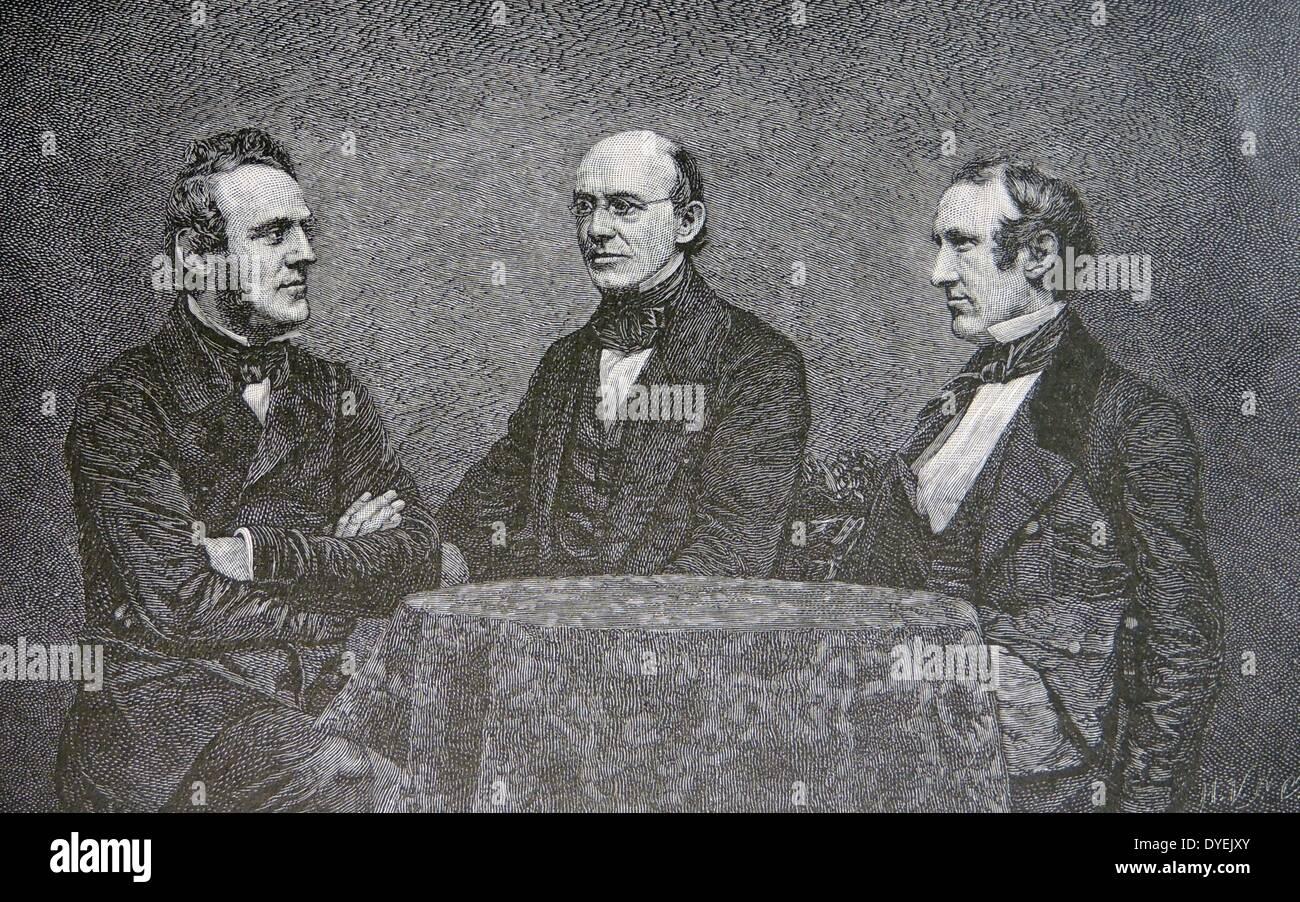 William Lloyd Garrison (1805-1879) abolicionista americano, con abolicionistas británico George Thompson (1824-1884), Foto de stock