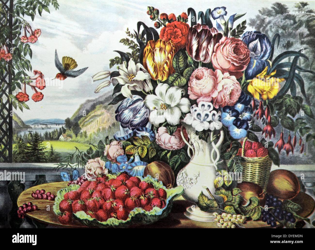 Currier & Ives Ilustración del siglo XIX. Paisaje, frutas y flores. Foto de stock