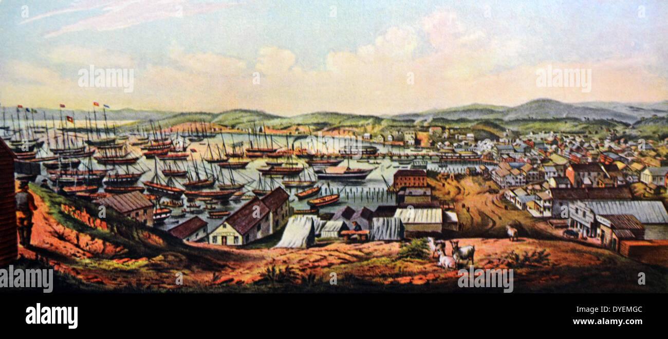 Currier & Ives Ilustración del siglo XIX. Vista de San Francisco, California Foto de stock